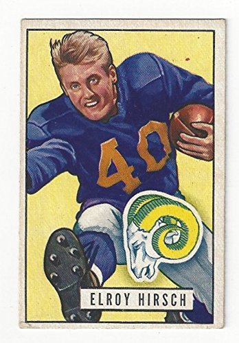Vintage Elroy Hirsch Collectible Football Card - 1951 Bowman Baseball Card #76 (Los Angeles Rams) Free Shipping with Insurance