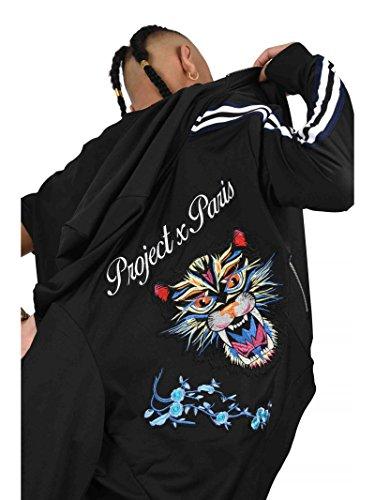 Noir Et Panthère X Paris Patch Hoodie Project Contrastantes Bandes Homme 1xqBzT