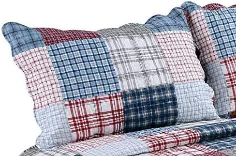 Blue Gray Large Size Printed Bedspread Bedspread Super Soft 3-Piece Summer Duvet Cover with 2 Stitches Multi-Color Check Pattern red