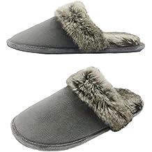 Finoceans Slippers Men's/Women's Faux Fur Memory Foam House Bedroom Indoor/Outdoor Winter Shoes