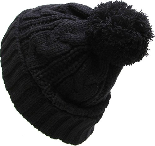 KBETHOS Women's Winter Warm Thick Oversize Cable Knitted Beaine Hat with Pom Pom