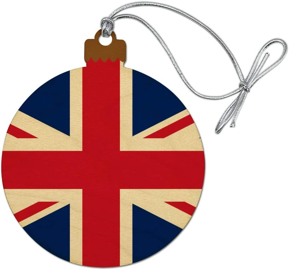 GRAPHICS & MORE United Kingdom Great Britain Union Jack Country Flag Wood Christmas Tree Holiday Ornament