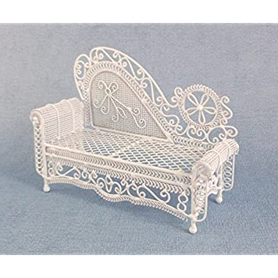 Melody Jane Dolls House Miniature Furniture White Wire Wrought Iron Chaise Longue Sofa: Toys & Games