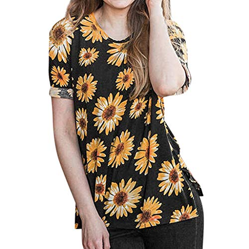 Willow S 2019 New Persionality Casual Women Plus Size Short Sleeve Crew Neck Loose Sunflower T-Shirt Top Blouse Black