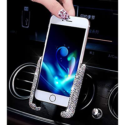 Bestbling Blingbling Rhinestone Crystal Convenient Mini Car Dash Air Vent Automatic Adjustable Phone Holder (Silver) [5Bkhe0105350]