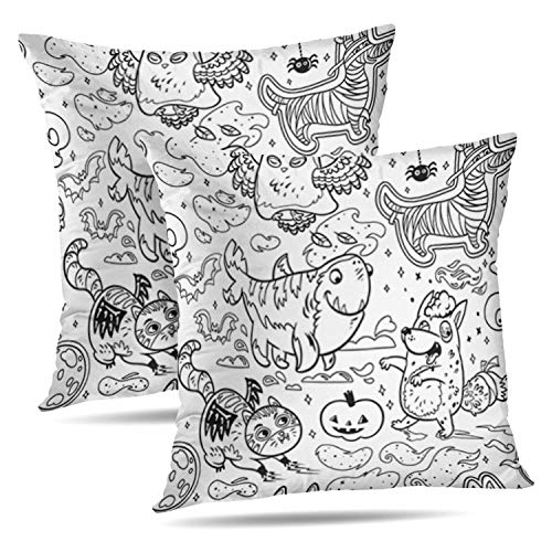 LALILO Set of 2 Throw Pillow Covers Fantasy Halloween Ink with Funny Cartoon Animals Owl Ghost Four Leg Double-Sided Pattern for Sofa Cushion Cover Couch Decoration Home Bed Pillowcase 18x18]()