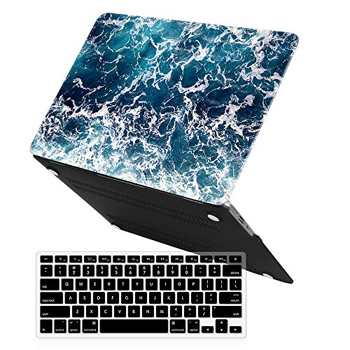 MacBook Air 13 Inch Case (Release 2010-2017 Older Version),iCasso Rubber Coated Soft Touch Hard Case with Keyboard Cover Only Compatible Macbook Air 13 Inch (Model:A1369/A1466) , Blue Sea