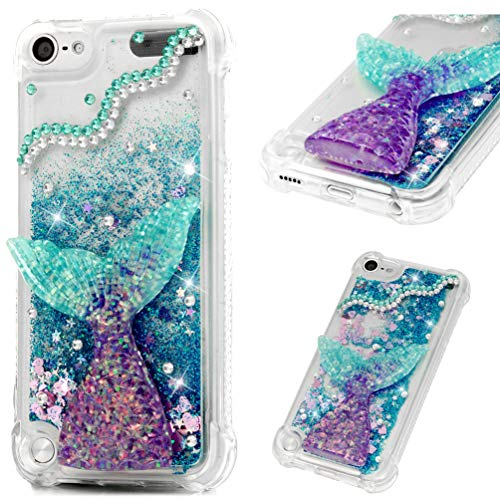 iPod Touch 5/6 Case,Liquid Phone Case for Girls,GEMYON Fashion Creative Design Flowing Liquid Floating Luxury Bling Glitter Sparkle Diamond Hard Clear Case for iPod Touch 5/6