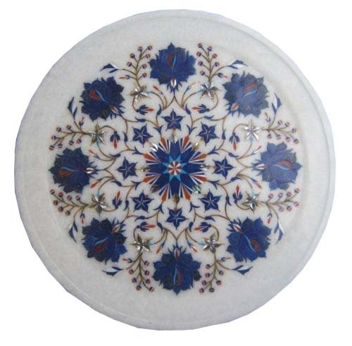 tone Inlay Pietra Dura Handmade Crafts for Home Decor India (Marble Inlay Plate)