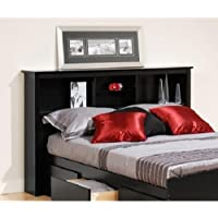 Brisbane Full Queen Storage Wood Headboard, Black