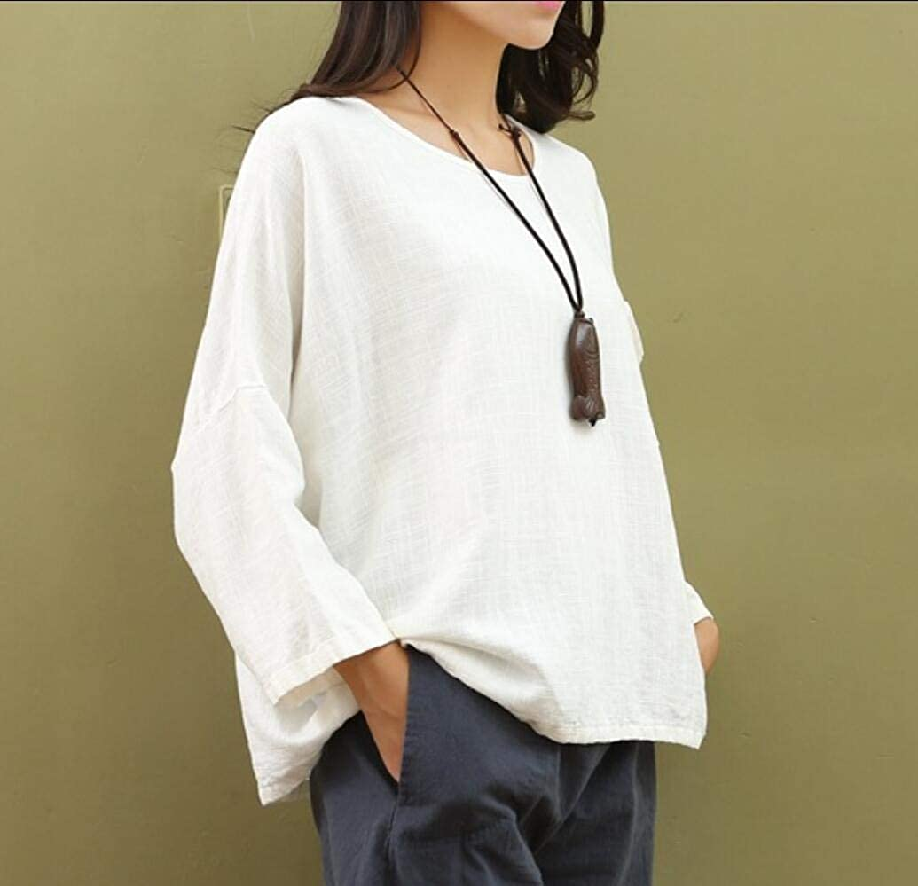Comaba Womens Tee Loose Loosefit Basic Linen Cotton Plus Size Blouse