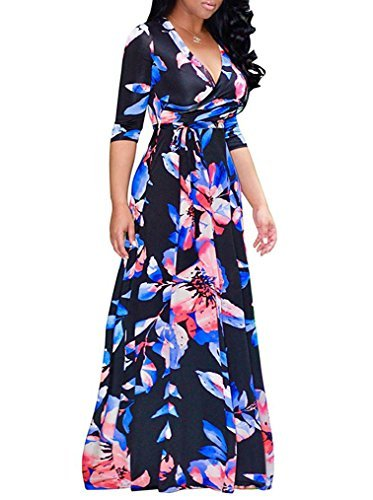 Locryz Women's Flower Print V Neck 3/4 Sleeve Wrap Party Long Maxi Dress with Belt (XL, Navy)