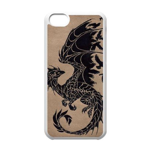 Dragon Tribal 002 coque iPhone 5C Housse Blanc téléphone portable couverture de cas coque EOKXLLNCD19715