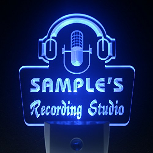 Recording Custom (wsqm-tm Name Personalized Custom Recording Studio Microphone Day/ Night Sensor LED Sign)