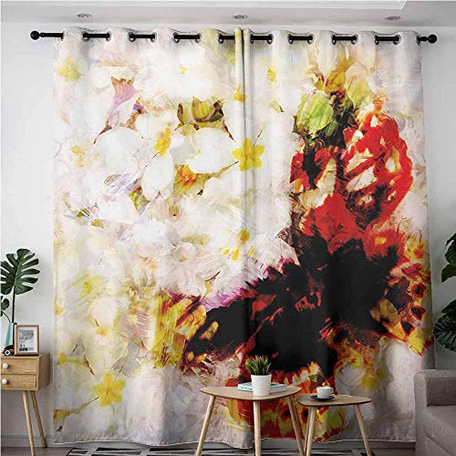 (AndyTours Blackout Curtains,Paisley,Fresh Flower Garden with Orchids Roses Jasmines and Butterflies in Abstract Design,Blackout Window Curtain 2 Panel,W72x96L,Multicolor)