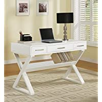 1PerfectChoice Home Office Writing Study Computer X Cross Legs Storage Books Table with 3 Drawers, White