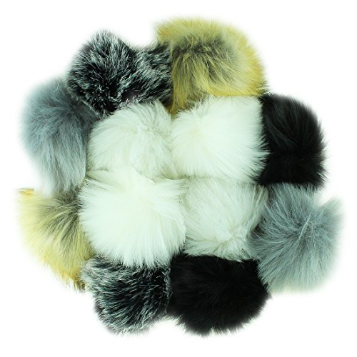 KOMIWOO 12pcs Fossil Beige Taupe Black Faux Fur Pom Pom Balls For Toques Beanies Hats Keychains Purse FOB Charm Vegan Fake Plush Long Pile Craft - And Hat Ball Chain