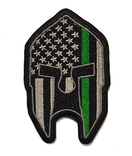 (Subdued Thin Green Line American Flag Spartan Helmet Patch)