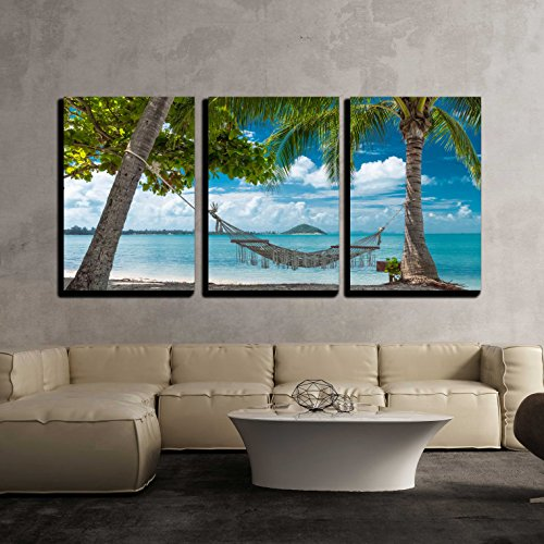 """Wall26 - 3 Piece Canvas Wall Art - Empty hammock between palm trees on the tropical beach - Modern Home Decor Stretched and Framed Ready to Hang - 16\""""x24\""""x3 Panels"""