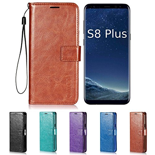 Price comparison product image Galaxy S8 Plus Case, HLCT PU Leather Case, With Soft TPU Protective Bumper, Built-In Kickstand, Cash And Card Pockets, For Samsung Galaxy S8 Plus (Brown)