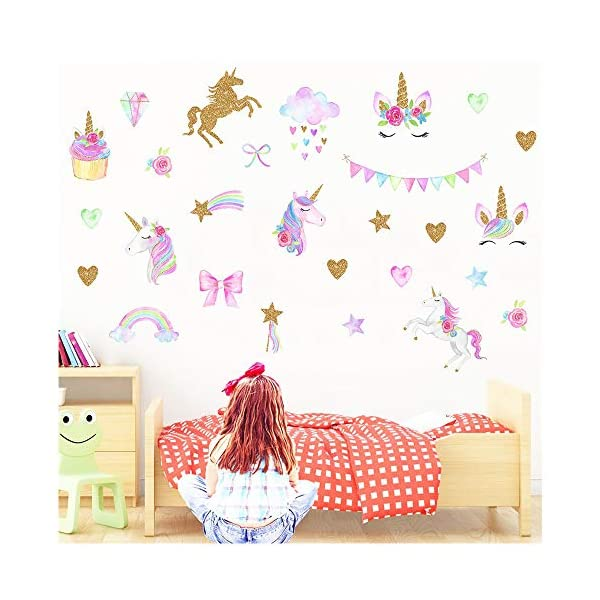 MLM Unicorn Wall Decals, Unicorn Wall Sticker Decor with Heart Flower for Kids Rooms Birthday Gifts for Girls Boys Bedroom Nursery Home Party Home Decor 3