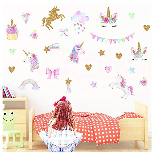 MLM Unicorn Wall Decals, Unicorn Wall Sticker Decor with Heart Flower for Kids Rooms Birthday Gifts for Girls Boys Bedroom Nursery Home Party Home Decor ()