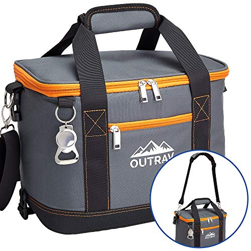 Orange Insulated Cooler Bag - Collapsible Thermal Lunch Bag with Bottle Opener - Perfect For Camping, Picnics and Travel - Handles and Removable Shoulder Strap - By - Coolers Thermos Soft