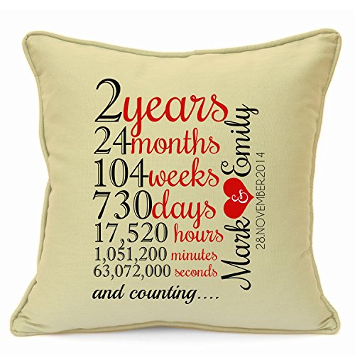 Personalised Presents Gifts for Him Her Husband Wife Couples Girlfriend Boyfriend Wedding Anniversary Birthday Valentines Day Christmas Xmas New Home Love 2 Years Count Cushion Cover 18 Inch 45 cm