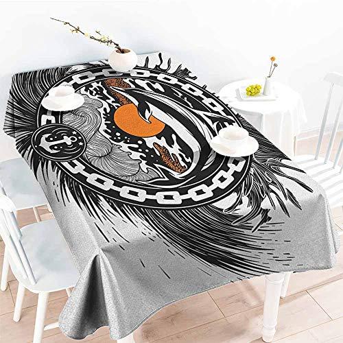 EwaskyOnline Water Resistant Table Cloth,Dolphin Nautical Themed Logo with Sun Wavy Sea Anchor Chain Abstract Aquatic Design,High-end Durable Creative Home,W60x120L, Black Orange White