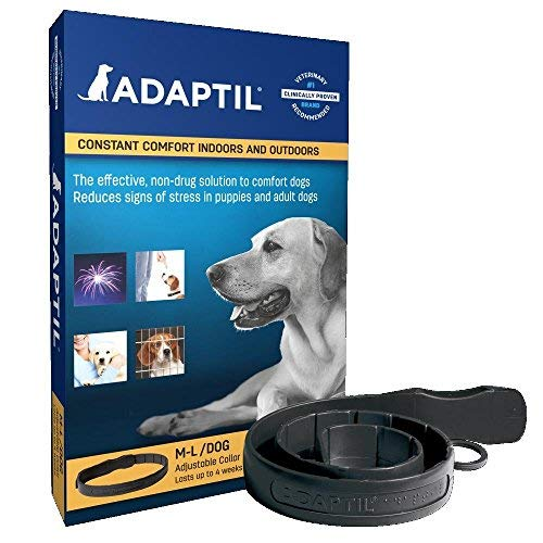 Adaptil Dap Calm On - The - Go Dog Appeasing Pheromone Odorless Collar for Anxiety Stressful Large and Medium Dogs Max Adjustable Neck Size 24.6 - Dog Pheromone Collar Calming