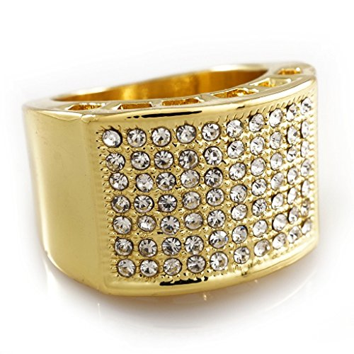 14K Gold Plated Micropave CZ AAA Crystal Iced Out Ring,Size (Gold Pinky Ring)