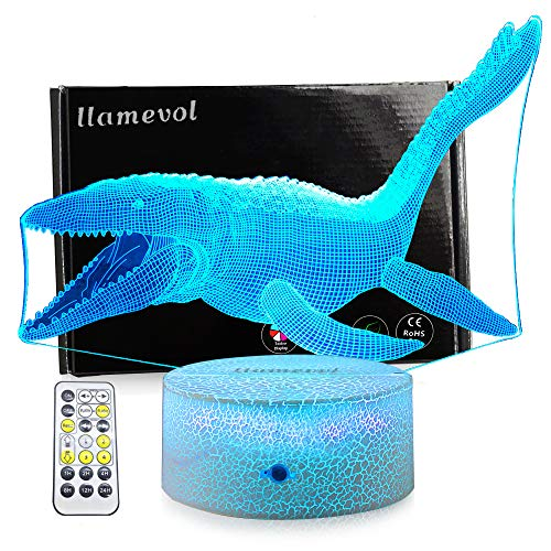 LLAMEVOL Dinosaur Toy Night Lights for Kids Jurassic 3D Illusion Lamp Timer Remote Control Birthday Dino for Boys Girls Home Bedroom Party Supply Decoration 7 Color Crackle Mosasaurus