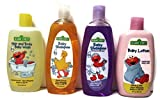 Sesame Street 4 Piece Bundle: Baby Shampoo, Baby Shampoo (Calming Lavender Scent), Baby Lotion, Hair and Body Baby Wash