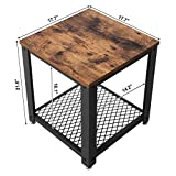SONGMICS Vintage End Table, 2-Tier Side Table with Storage Shelf, Sturdy and Easy Assembly, Wood Look Accent Furniture with Metal Frame ULET41X Variant Image