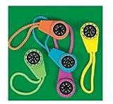 Fun Express Neon Compass On Cord (1 Dozen) - Bulk Toy