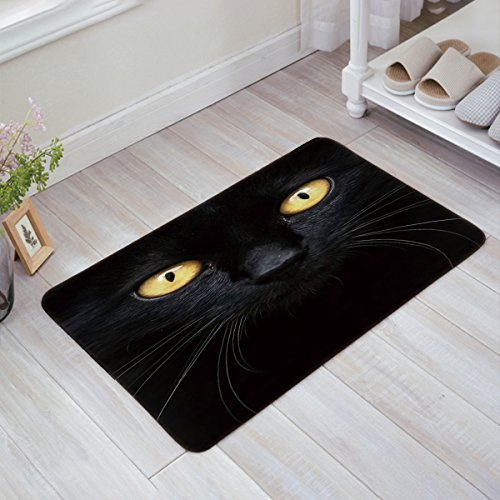Doormat Kitchen Bathroom Soft Durable Accent Rug Small Carpet Mat Easy To Clean Modern Woven Hearth Mat Light 23.6 x15.7 inch-Black cat -