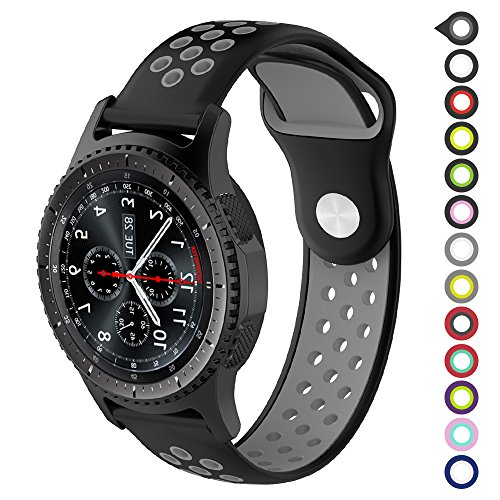 Gear S3 Bands,Meifox Soft Silicone Replacement Band for Samsung Gear S3 Frontier/Classic Smart Watch,Also for Huawei Watch 2 Classic Smartwatch(22mm) (Black-Gray, L) ()