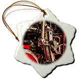 3dRose Alexis Photography - Transport Railroad - Driving gear of a steam locomotive. Stylized photo - 3 inch Snowflake Porcelain Ornament (orn_270617_1)