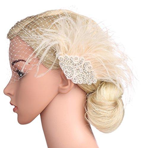 BABEYOND Bridal Wedding Fascinator Mesh Feather Fascinator Hair Clip Hair Fascinator Veil Crystal Wedding Veil (Pink) by BABEYOND