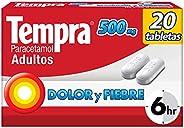 Tempra 500mg Dolor y Fiebre con Paracetamol, caja con 20 tabletas