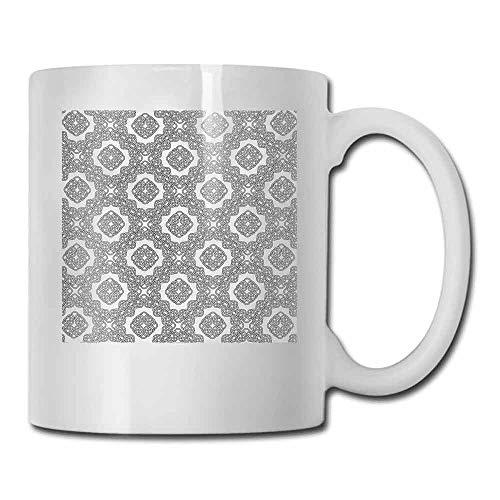 Porcelain Tea Mug Celtic Geometric Diagonal Symmetrical Binding Celtic Cross Knots Motif Retro Illustration Cocoa 11 oz Black White