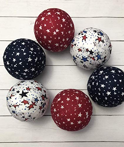 (Patriotic Stars 2.5 inches Fabric Wrapped Bowl filler set of six)
