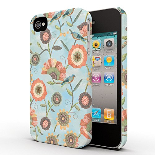 Koveru Back Cover Case for Apple iPhone 4/4S - Flower Scroll Coral