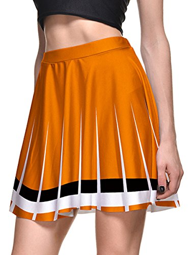 Sundray Women 3d Digital Printed Stretch Flared Pleated Casual Skater Mini Skirt Orange XXL (Cheerleading Outfits Cheap)