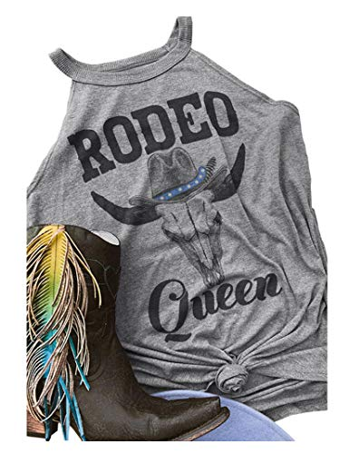 c1d5e1e8 Rodeo Queen Tank Top Women's Vintage Sleeveless Casual Graphic Tee T-Shirt  Size L (Gray)
