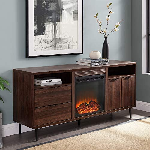 Walker Edison Furniture Company Modern Storage Fireplace Console, 60 Inch, Dark Walnut