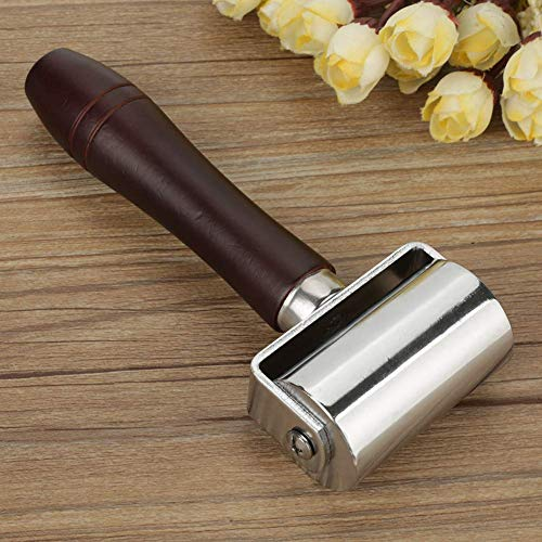 Leather Press Edge Roller Leathercraft Wooden Handle Carbon Steel Leather Rolling Craft Roller Tool Leather Press Edge Creaser Edger Rolling Tool (2.36''/60mm)