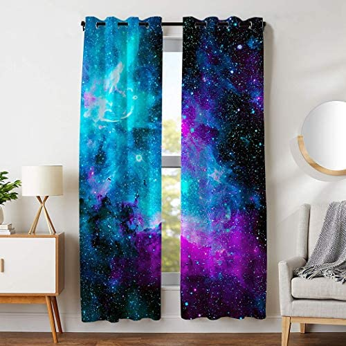 HommomH 42 x 84 inch Curtains 2 Panel Grommet Top Darkening Blackout Room Nebula Galaxy Blue