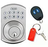 TOLEDO Electronic Door Lock Deadbolt - Remote and Keypad, Convenient Keyless Entry for Quicker, More Secure Residential Access, Anti-Bump Security and Backlit Keys (Satin Nickel)