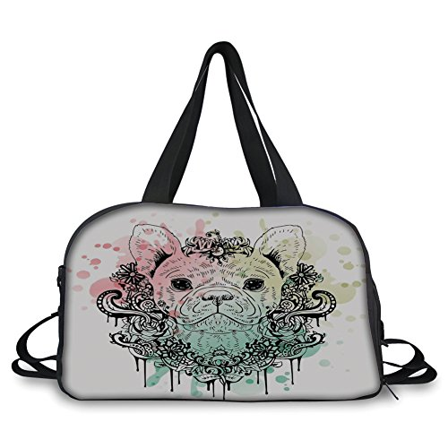 Travelling bag,Animal,French Bulldog with Floral Wreath on Brushstroke Watercolor Print,Mint Light Pink Pale Green ,Personalized by iPrint
